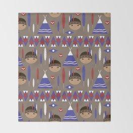 Seamless kids cute American indian native retro background pattern Throw Blanket