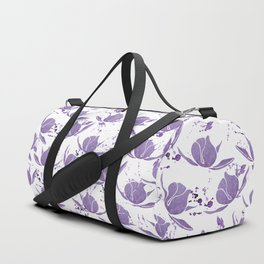 Hand painted lilac violet watercolor splatters floral Duffle Bag