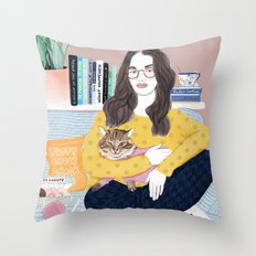 kat and cat Throw Pillow
