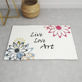 Live Love Art Inspirational Floral Graphic Art print Rug