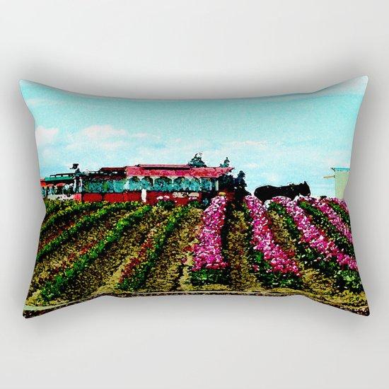 Mule Rides Through The Tulips Rectangular Pillow