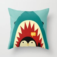 penguin Throw Pillows featuring Hi! by Jay Fleck