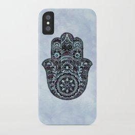 Watercolor Blue Pink Hamsa Hand iPhone Case