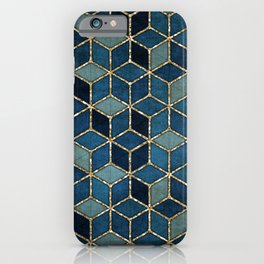 Shades Of Turquoise Green & Blue Cubes Pattern iPhone Case