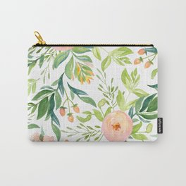 Happy Coral Pink + Green Rose Garden Carry-All Pouch