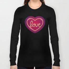 Love Heart Neon Sign Long Sleeve T-shirt
