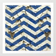 Peeling Chevrons Blue Art Print