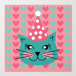 Cat Party hat Canvas Print