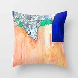Wall with blue sky Throw Pillow