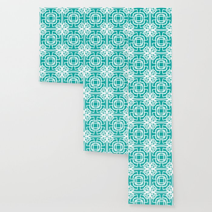 Medallion Turquoise & White Abstract Wallpaper By Msmg222
