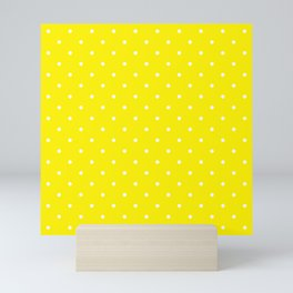 Small White Polka Dots with Yellow Background Mini Art Print