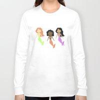 mermaids Long Sleeve T-shirts featuring Many Mermaids by Verdad es Verity