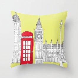Capital Icons III // London Red Telephone Box Throw Pillow