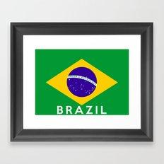 Brazil country flag name text Framed Art Print