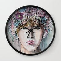headdress Wall Clocks featuring Headdress  by Talitha Etters