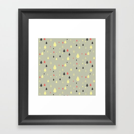 retro raindrops Framed Art Print