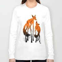 foxes Long Sleeve T-shirts featuring Foxes by AmKiLi