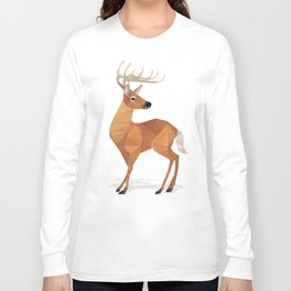 Low Poly White-tailed Deer Long Sleeve T-shirt
