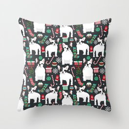 French Bulldog christmas festive stocking christmas ornaments dog breeds frenchie owner gifts Throw Pillow