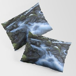 Snow, Moss, Water Over Rocks Pillow Sham