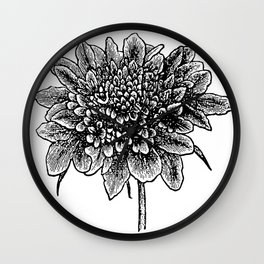 pincushion flower - stamp Wall Clock