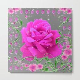 ROMANTIC CERISE PINK ROSE GREY ART RIBBONS Metal Print