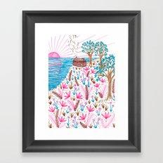 Cliff Top Cabin Framed Art Print