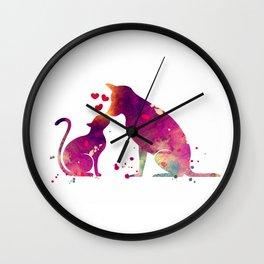 Cat and Dog Art Love Gift Animals Art Colorful Purple Watercolor Art Gift Pets Art Wall Clock