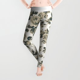 Country chic vintage black white bohemian floral Leggings