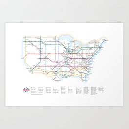 Interstate Highways as a Subway Map Art Print