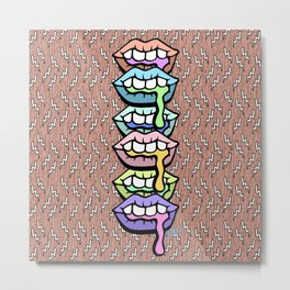 Thirsty - Trendy Pastel 90's Lip Illustration Metal Print