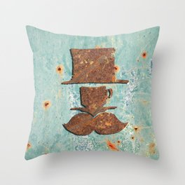 Rusty coffee shop sign Throw Pillow