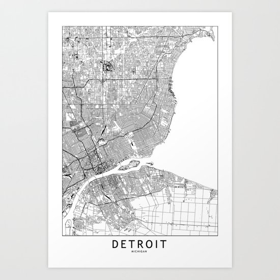 Detroit White Map by multiplicity