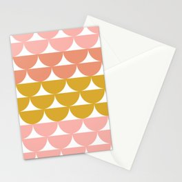 Pretty Geometric Bowls Pattern in Coral and Mustard Stationery Cards