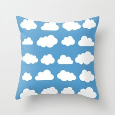 White clouds on a blue skies Throw Pillow
