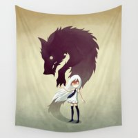 face Wall Tapestries featuring Werewolf by Freeminds
