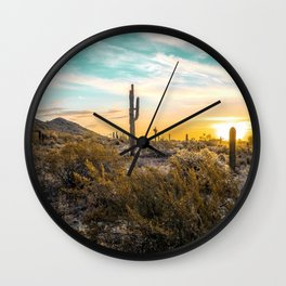 Desert Sunrise // Saguaro Cactus Summer Sun Arizona Nature Landscape Teal Blue Green Sky Wall Clock