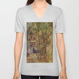 Temple in the Deep Forest in my village Unisex V-Neck