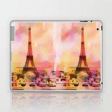 Paris Eifel Tower Abstract Art Illustration pink orange yellow Laptop & iPad Skin