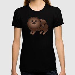 Brown Pomeranian Dog Cute Cartoon Illustration T-shirt