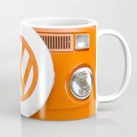 volkswagen Mugs featuring Volkswagen Orange by Alice Gosling