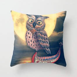 Lanyu Scops Owl with Traditional Canoe Throw Pillow