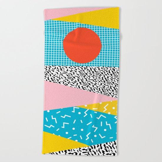 Check it - good vibes happy smiles fun modern memphis throwback art 1980's 80's 80s 1980s 1980 neon  Beach Towel