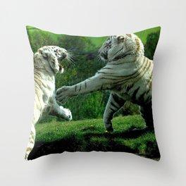 Two Gracious Fabulous White Beasts Toying UHD Throw Pillow