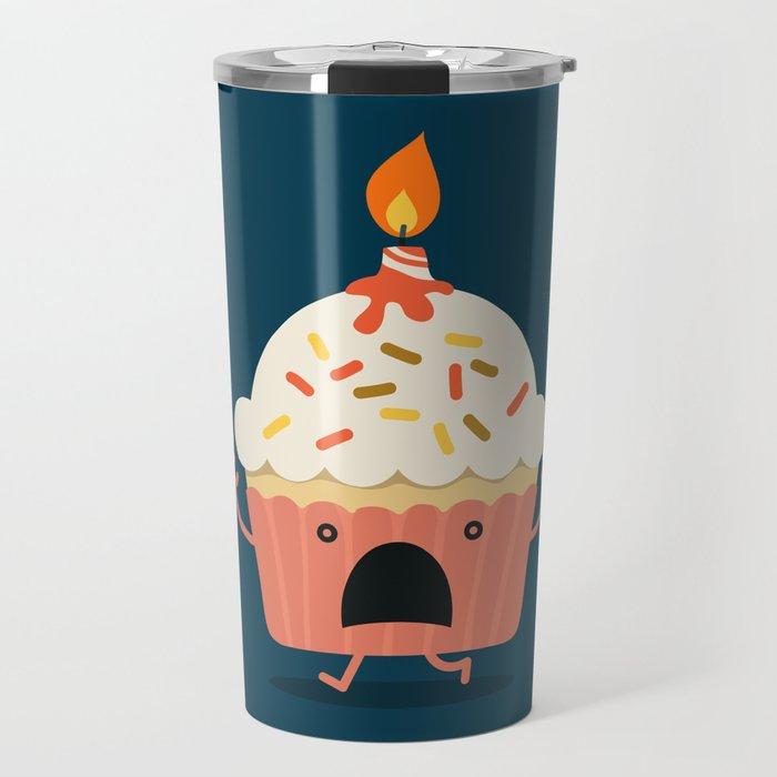 Cupcake on fire Travel Mug