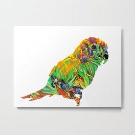 Iris By Van Gogh On Parrot By Annie Zeno Metal Print