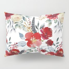 Botanical red ivory teal watercolor roses floral Pillow Sham