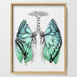 Butterfly Lungs Blue Green Serving Tray