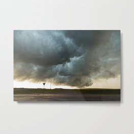 Storm Cloud Over Country Road Metal Print