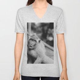 Cute Monkey (Black and White) Unisex V-Neck